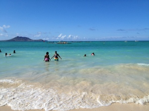 Kailua Beach, Hawai'i, with va'a (canoes) racing in the background, 2015