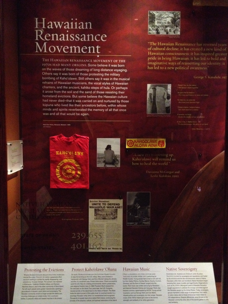 Hawaiian Renaissance Movement display, Bishop Museum, 2015
