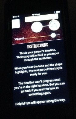 First screen of instructions (more below the fold), Storyteller app, Love and Sorrow, Melbourne Museum, 2015