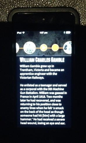 Storyteller app showing William Charles Gamble screen, Melbourne Museum, 2015