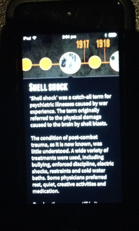 Storyteller app showing scrolling text, Melbourne Museum, 2015