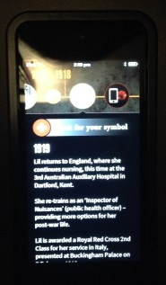 Lil Mazkenzie screen on the Storyteller app, Melbourne Museum, 2015