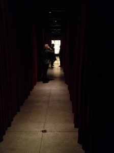 A corridor lined with velvet curtains, MONA, 2012