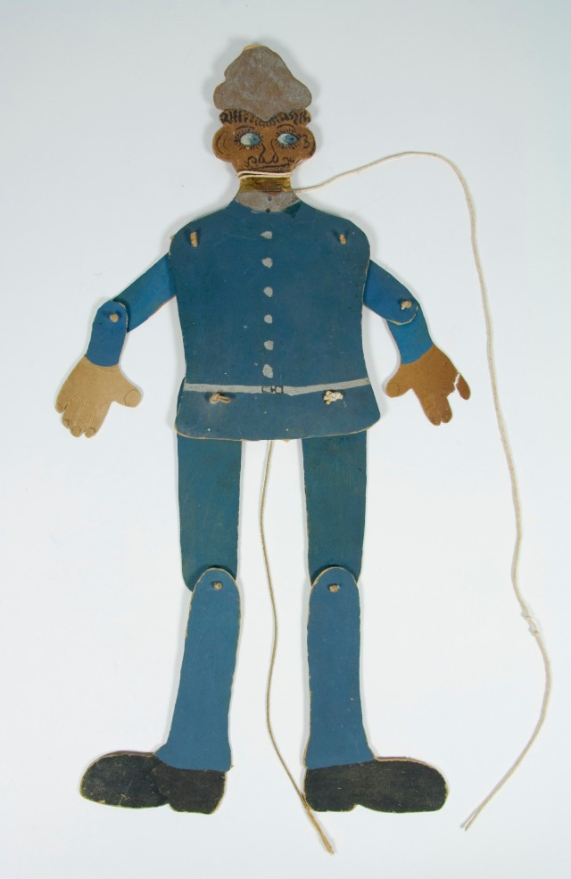Toy policeman, about 1910, by Sarah McMurray. Gift of Elizabeth McMurray, great grandchild of maker Sarah McMurray, 2010. CC BY-NC-ND licence. Te Papa (GH020822)