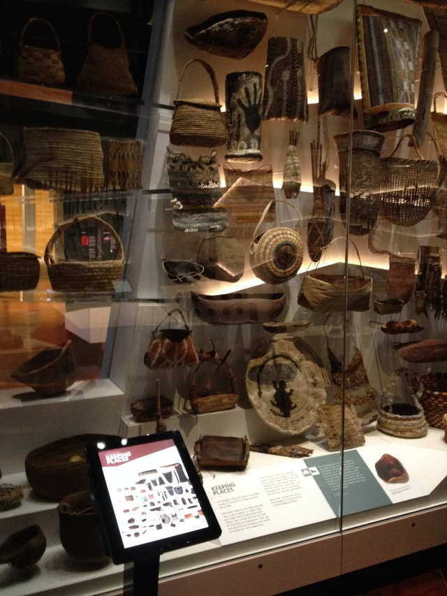 Digital labels, First Peoples exhibition, Melbourne Museum, 2015