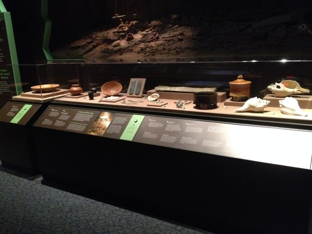 Bilingual label rail, Maya: Hidden Worlds Revealed exhibition, 2015